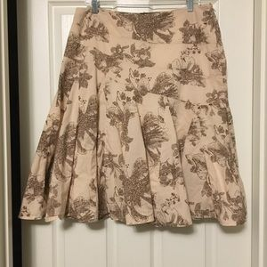 A.N.A. Brown &Stan floral flared 100% cotton skirt